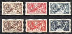 Great Britain, King George V 1918/1934 - 2/6d 5/- and 10/- Seahorse Sets, Stanley Gibbons 413a 415 417 and 450 451 452