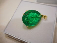 Gold Pendant with 28.28-ct Natural Emerald No Reserve Price