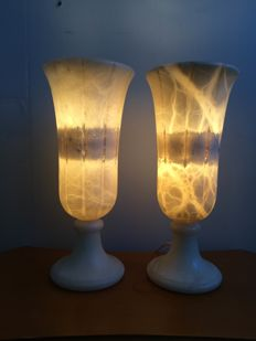 Two alabaster lamps, second half of last century