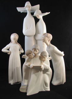 Lladro & Nao .. devoted choir of 4 figures.