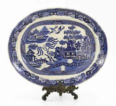 19th century faience Staffordshire Tray - Willow, Canton, asiatic pheasants motive, huge dimensions 46*37cm