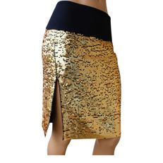Donna Karan - Gold sequned silk Skirt