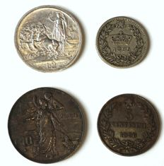 Kingdom of Italy - Lot of 4 coins 1895/1916 (including silver)