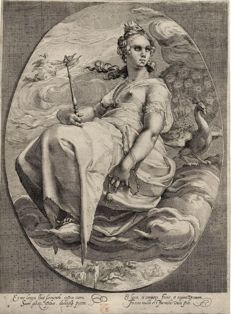 Hendrick Goltzius copy A in reverse, anonymous, Juno, 1600