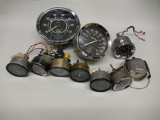 10 Various Vintage Classic Car Parts Speedo Amps Temp Clocks by Smiths Jaeger and Veglia Borletti