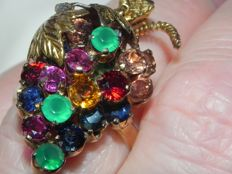 Grapes, antique cocktail ring, 14 kt/585 gold, 6 g ruby, chrysoprase, citrine, sapphire