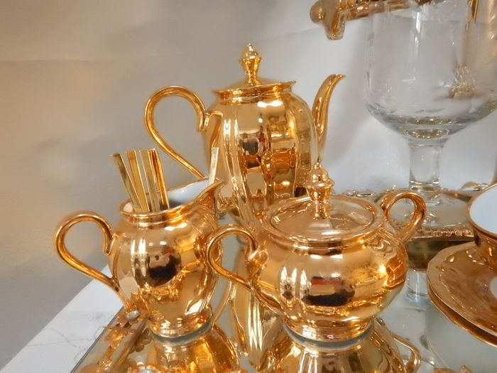 24-carat gold-plated coffee/tea maker + gold plated Bavaria mokka tableware : bavaria gold plated tea set - pezcame.com