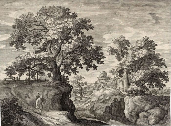 Anonymous, after Hans Bol (1534-1593), Landscape with pedlar.