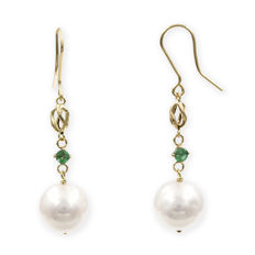 Earrings with fish hook clasp - freshwater cultured pearls measuring approximately 11.25 mm - emeralds on prongs