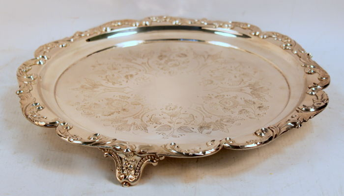 Antique Victorian Silver Plate Serving Tray With Floral Engravings, C.1880