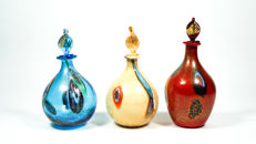 Francesco Fabris - Set of three bottles with Murrine and gold decorations