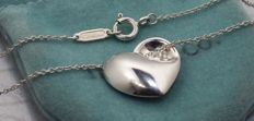 Tiffany Co Vintage Puffed Heart Recessed Corner necklace pendant, rare - Total Length: 40 cm Width: 1.6 cm H: 1.5 cm