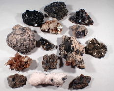 Beautiful large collection of Galena, Marmatite, 	Pyrite, Arsenopyrite, Blue Iron Ore, Quartz, Pyrrhotite and more -  3362g (14)
