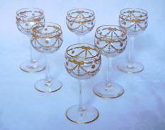 6 St Louis crystal liquor glasses, gilt with fine gold, in Louis XVI style, France, early 20th century