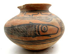 Indus Valley Painted Terracotta Jar With Fish Motif - 125x94 mm