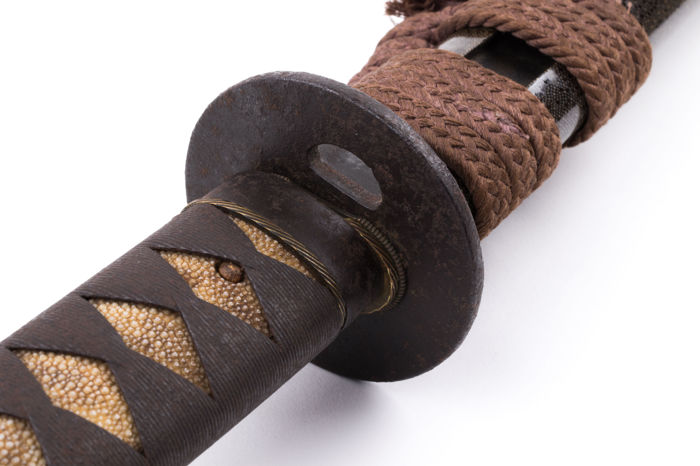 Koshirae for wakizashi, Iron tsukaito, Iron kojiri - Japan - 18th/19th century