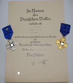 Medals for Loyal Service to the State, (1) 25 Years, (1) 40 Years, (1) Concession Medal 40 Years, GERMANY, Third Reich