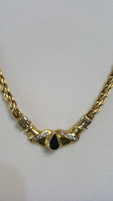 Antique 750 yellow gold choker with blue sapphire