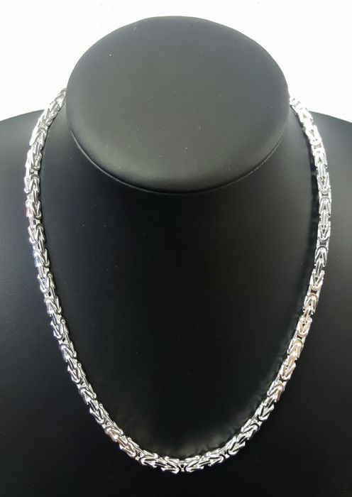 Silver King's braid link necklace, length: 50.3 cm, width: 4 mm, weight: 62 g, 925/1000