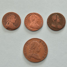 Austrian Netherlands - 3 Liards and 1 Double Liard 1745/1793 - copper