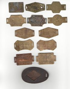 Collection of Rijwielbelasting-cards, nice copper, the Netherlands and fine, leather holder