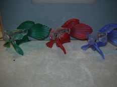 Swarovski SCS Silver Crystal blue, green, red Siamese fighting fish