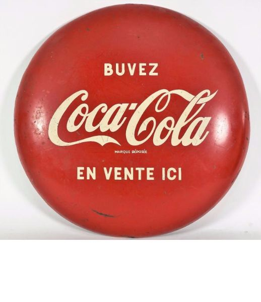 "BUVEZ COCA-COLA.""En vente içi"". (1960 ) - Curved advertising sign - Diam: 45 cm."