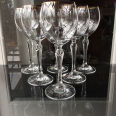Lot consisting of 6 crystal glasses decorated with 24kt gold
