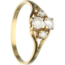 14 kt - Yellow gold ring set with zirconia - Ring size: 17 mm