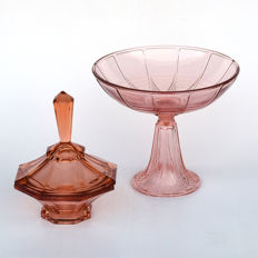 Pressed glass Art Deco brown/orange bonbonnière with a cover and a serving dish