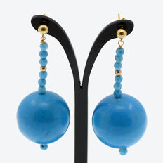 18kt/750 yellow gold earrings with turquoises – Length 52 mm.