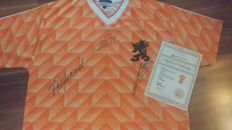 official 1988 signed Netherlands Home Shirts  with Marco van Basten, Ruud Gullit & Frank Rijkaard + COA