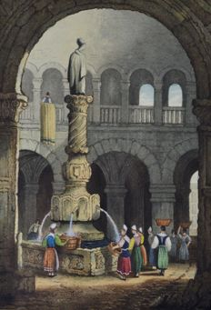Circle of Samuel Prout (19th century) - A fountain at Ulm