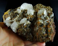 Huge specimen with bladed Calcite and Hemimorphite crystals on matrix - 14,5 x 9,0 x 6,5 cm - 1070 gm