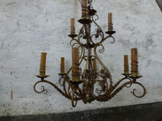 A handcrafted wrought-iron hanging lamp - France - first half 20th century