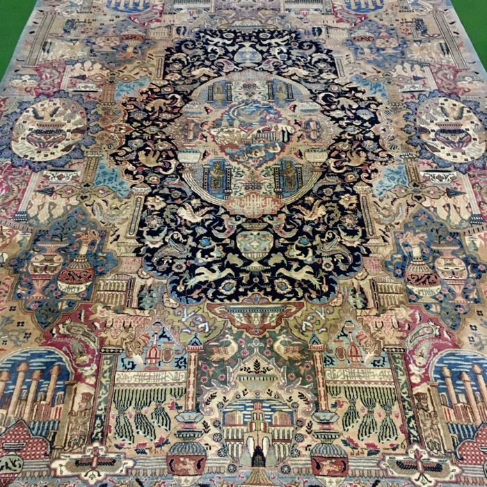 Eye-catcher!! Beautiful, large, hand-knotted Persian images and vases - Kashmar carpet, 376 x 298 cm, circa 15 years old