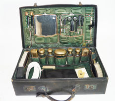 Antique hairdressers box with contents