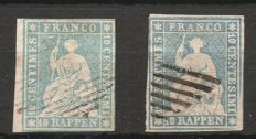 Switzerland 1854/1863 - sitting Helvetia imperforate - Zumstein - special catalogue no. 23E.a and no. 23E.b