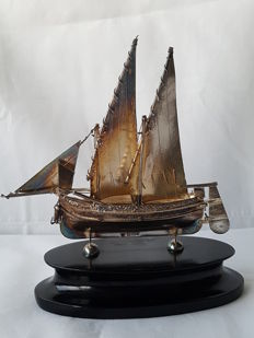Silver model of ship on wooden plinth, Malta, 1920-1950