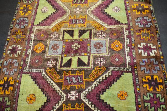 Handwoven original antique Turkish Kazakh carpet oriental approx. 280 x 108 cm. Turkish antique original condition rare pattern fine