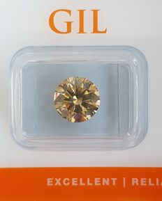 Diamond - 2.70 ct - VS2 - Natural Fancy Intense Greenish Yellow - Round Brilliant Cut - Excellent Cut