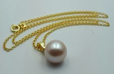 14 Ct Yellow Gold Chain &  Cultured Fresh Water  Pearl Pendant ,Total 3.41g, Chain 50 cm, Pearl 10mm