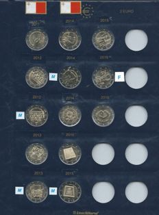 Malta - 2 Euro 2011/2016 commemoration coins, among which some with coin maker's mark and F in a star (13 pieces)