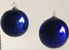 Pair of antique and big glass cobalt balls