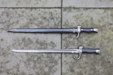 French musketon bayonet model 1892 with whole guard and French musketon bayonet model 1892 with shortened guard