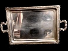 An amazing ,  silver plated (marqued: ALPACA)  , Louis XV style  , large vintage  tray  , with two  big handles  , 1980´s