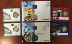 Luxembourg - 2 Euro 2004/2012  - 4 blisters 2007/2010/2012/2012 & 2 FDC incl 2 Eur Coin 2004 / 2012