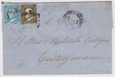 Sicilt, 1860 - Letter from Messina to Castrogiovanni with 1 Grano III Table + 2 Grana I Table Sassone No. 5b-5g