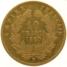 France – 10 Francs 1860 BB Napoleon III Empereur – gold