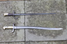 French Epee bayonet for the Gras rifle M1874 and French bayonet for the Chassepot rifle M1866 with Yataghan blade shape